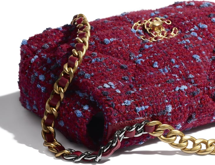 image 4 - CHANEL 19 Flap Bag - Wool Tweed, Gold-Tone, Silver-Tone & Ruthenium-Finish Metal - Raspberry Pink