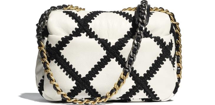 image 2 - CHANEL 19 Flap Bag - Calfskin, Crochet, Gold-Tone, Silver-Tone & Ruthenium-Finish Metal - White & Black