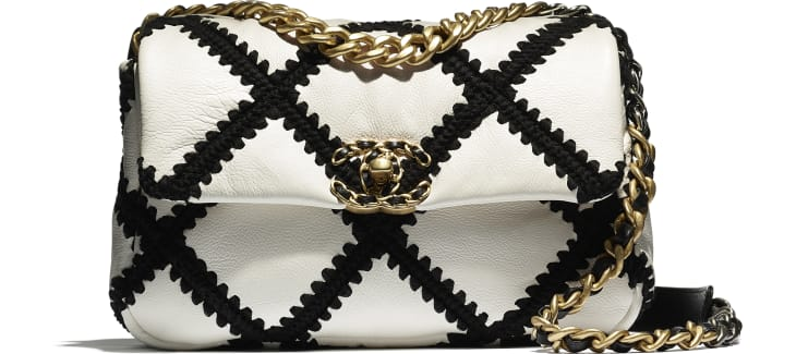 image 4 - CHANEL 19 Flap Bag - Calfskin, Crochet, Gold-Tone, Silver-Tone & Ruthenium-Finish Metal - White & Black