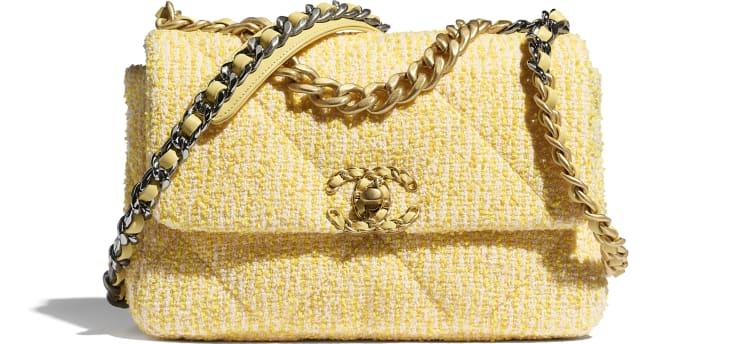 image 1 - CHANEL 19 Flap Bag - Tweed, Gold-Tone, Silver-Tone & Ruthenium-Finish Metal - Yellow & Pink