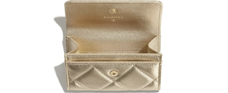 image 2 - CHANEL 19 Flap Card Holder - Metallic Lambskin, Gold-Tone, Silver-Tone & Ruthenium-Finish Metal - Gold