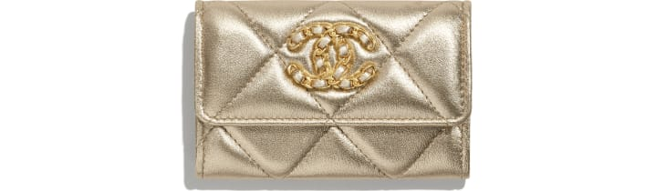image 1 - CHANEL 19 Flap Card Holder - Metallic Lambskin, Gold-Tone, Silver-Tone & Ruthenium-Finish Metal - Gold