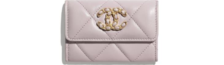 image 1 - Porte-cartes à rabat CHANEL 19 - Agneau, métal doré, argenté & finition ruthénium - Rose clair