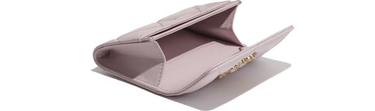 image 3 - Porte-cartes à rabat CHANEL 19 - Agneau, métal doré, argenté & finition ruthénium - Rose clair