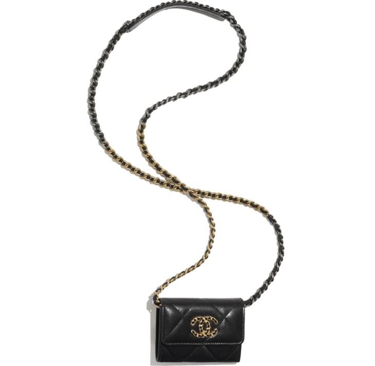 image 3 - Porte-monnaie à rabat avec chaîne CHANEL 19 - Chèvre brillante, métal doré, argenté & finition ruthénium - Noir