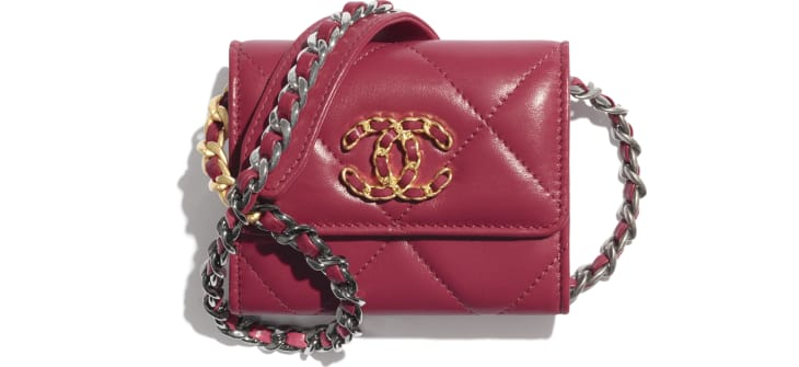 image 1 - CHANEL 19 Flap Coin Purse with Chain - Lambskin, Gold-Tone, Silver-Tone & Ruthenium-Finish Metal - Pink