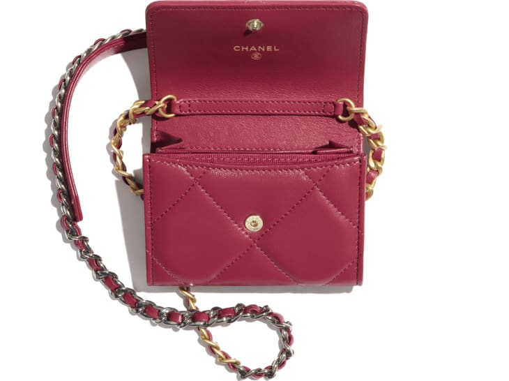 image 2 - CHANEL 19 Flap Coin Purse with Chain - Lambskin, Gold-Tone, Silver-Tone & Ruthenium-Finish Metal - Pink