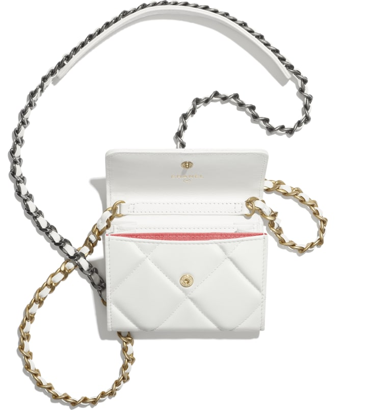 image 2 - CHANEL 19 Flap Coin Purse with Chain - Lambskin, Gold-Tone, Silver-Tone & Ruthenium-Finish Metal - White