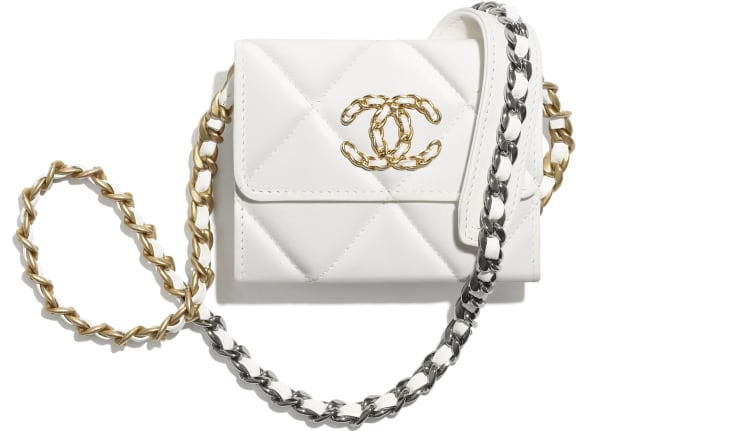 image 1 - CHANEL 19 Flap Coin Purse with Chain - Lambskin, Gold-Tone, Silver-Tone & Ruthenium-Finish Metal - White