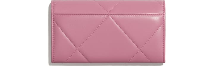 image 2 - CHANEL 19 Flap Wallet - Lambskin, Gold-Tone, Silver-Tone & Ruthenium-Finish Metal - Pink