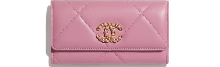image 1 - CHANEL 19 Flap Wallet - Lambskin, Gold-Tone, Silver-Tone & Ruthenium-Finish Metal - Pink