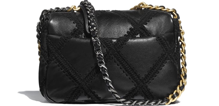 image 2 - CHANEL 19 Handbag - Calfskin, Crochet, Gold-Tone, Silver-Tone & Ruthenium-Finish Metal - Black