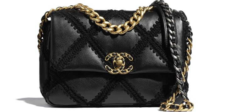 image 1 - CHANEL 19 Handbag - Calfskin, Crochet, Gold-Tone, Silver-Tone & Ruthenium-Finish Metal - Black