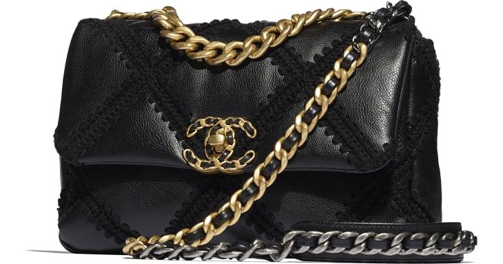 image 4 - CHANEL 19 Handbag - Calfskin, Crochet, Gold-Tone, Silver-Tone & Ruthenium-Finish Metal - Black