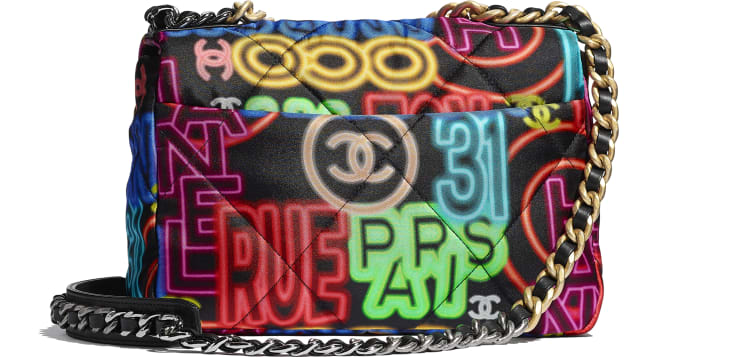 image 2 - CHANEL 19 Handbag - Printed Fabric, Gold-Tone, Silver-Tone & Ruthenium-Finish Metal - Black & Multicolor