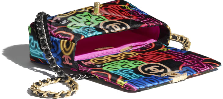 image 3 - CHANEL 19 Handbag - Printed Fabric, Gold-Tone, Silver-Tone & Ruthenium-Finish Metal - Black & Multicolor