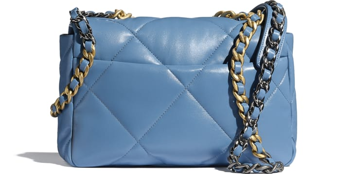 image 2 - CHANEL 19 Handbag - Lambskin, Gold-Tone, Silver-Tone & Ruthenium-Finish Metal - Blue