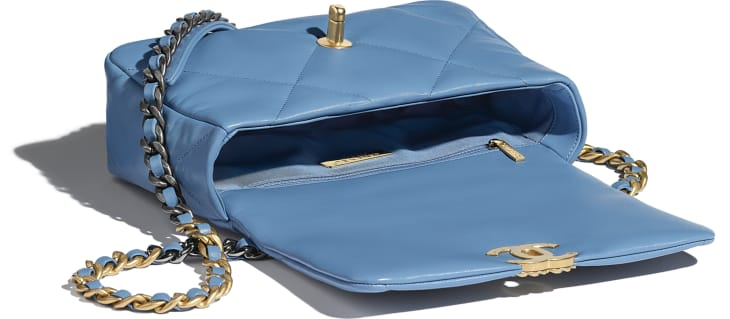 image 3 - CHANEL 19 Handbag - Lambskin, Gold-Tone, Silver-Tone & Ruthenium-Finish Metal - Blue