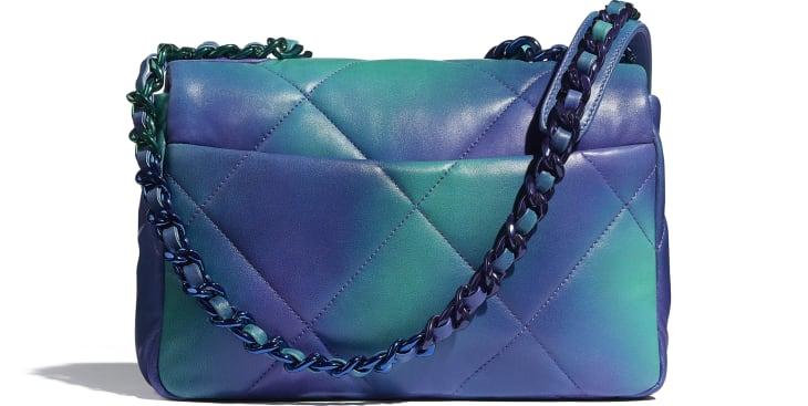image 2 - CHANEL 19 Handbag - Tie and Dye Calfskin & Lacquered Metal - Blue & Purple