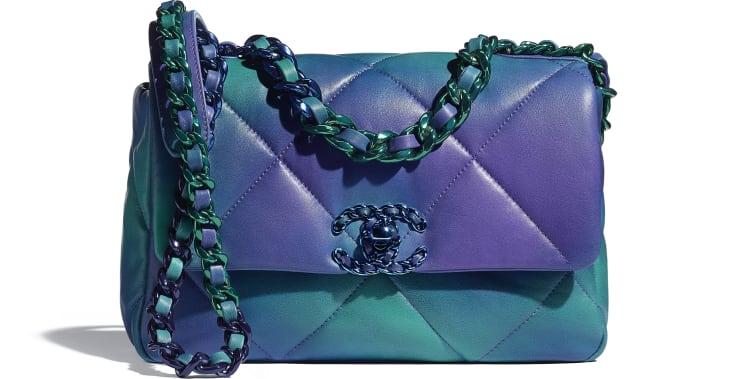 image 1 - CHANEL 19 Handbag - Tie and Dye Calfskin & Lacquered Metal - Blue & Purple