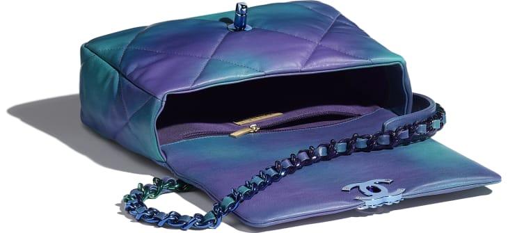 image 3 - CHANEL 19 Handbag - Tie and Dye Calfskin & Lacquered Metal - Blue & Purple