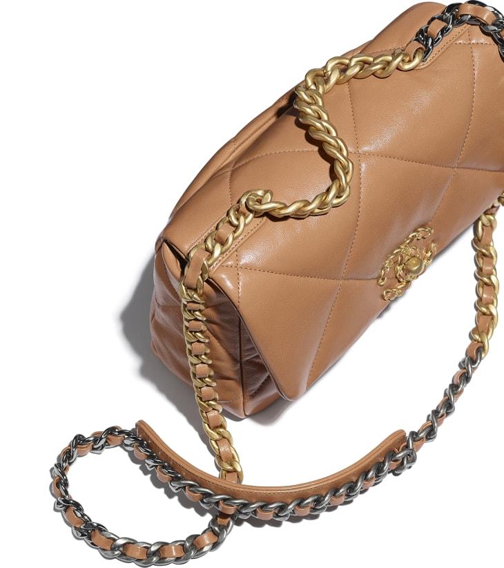 image 4 - CHANEL 19 Handbag - Lambskin, Gold-Tone, Silver-Tone & Ruthenium-Finish Metal - Brown