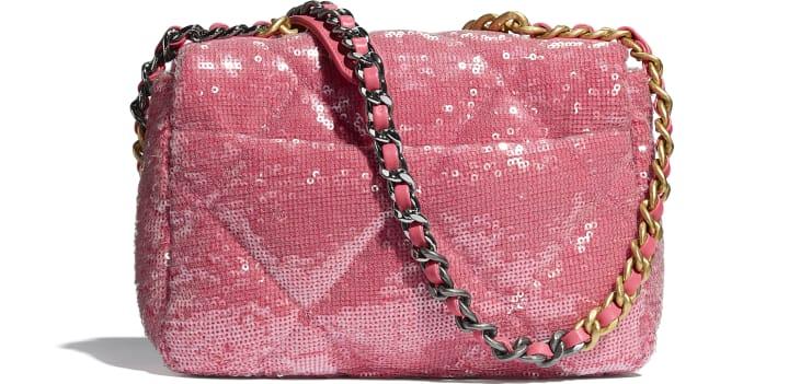 image 2 - CHANEL 19 Handbag - Sequins, Calfksin, Silver-Tone & Gold-Tone Metal - Coral