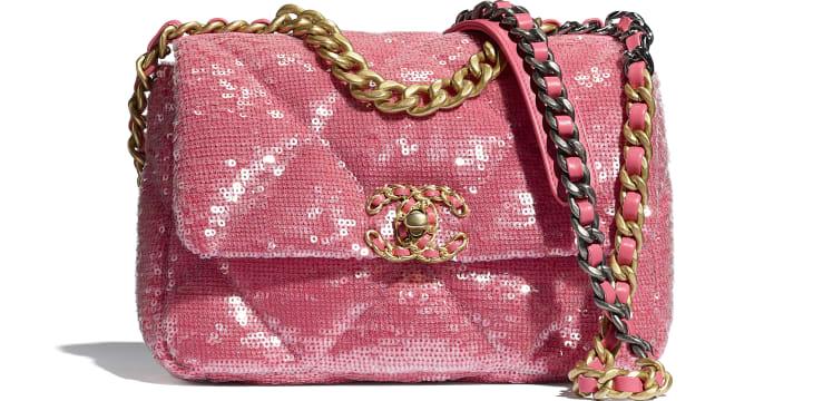 image 1 - CHANEL 19 Handbag - Sequins, Calfksin, Silver-Tone & Gold-Tone Metal - Coral