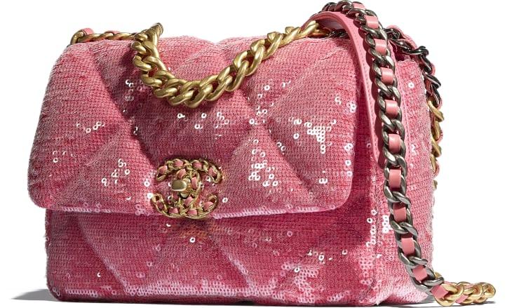 image 4 - CHANEL 19 Handbag - Sequins, Calfksin, Silver-Tone & Gold-Tone Metal - Coral