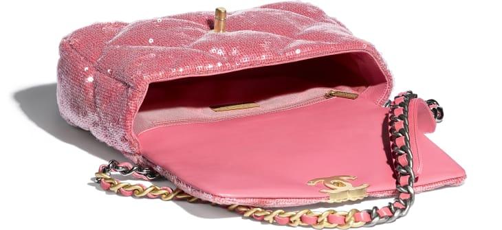 image 3 - CHANEL 19 Handbag - Sequins, Calfksin, Silver-Tone & Gold-Tone Metal - Coral