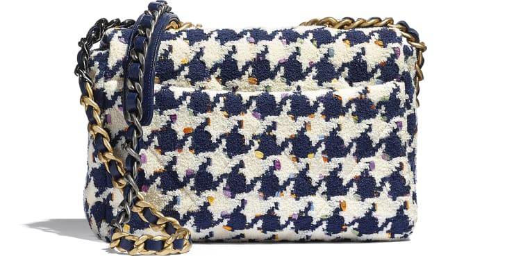image 2 - CHANEL 19 Handbag - Tweed, Gold-Tone, Silver-Tone & Ruthenium-Finish Metal - Ecru, Navy Blue & Multicolor