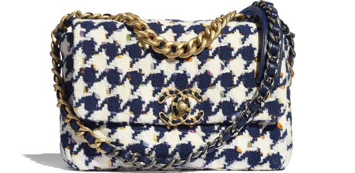 image 1 - CHANEL 19 Handbag - Tweed, Gold-Tone, Silver-Tone & Ruthenium-Finish Metal - Ecru, Navy Blue & Multicolor