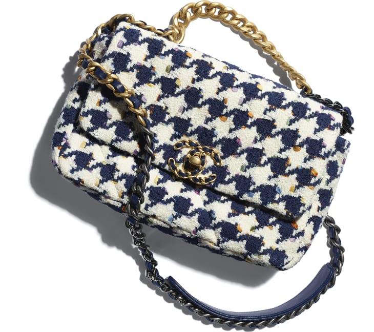 image 4 - CHANEL 19 Handbag - Tweed, Gold-Tone, Silver-Tone & Ruthenium-Finish Metal - Ecru, Navy Blue & Multicolor