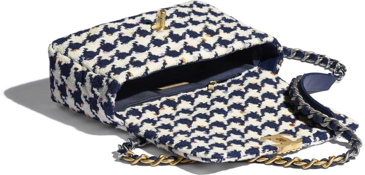 image 3 - CHANEL 19 Handbag - Tweed, Gold-Tone, Silver-Tone & Ruthenium-Finish Metal - Ecru, Navy Blue & Multicolor
