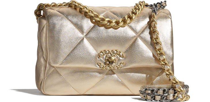 image 1 - CHANEL 19 Handbag - Metallic Lambskin, Gold-Tone, Silver-Tone & Ruthenium-Finish Metal - Gold