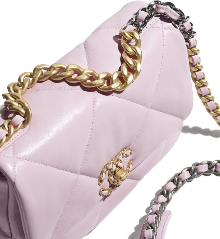 image 4 - CHANEL 19 Handbag - Lambskin, Gold-Tone, Silver-Tone & Ruthenium-Finish Metal - Light Pink