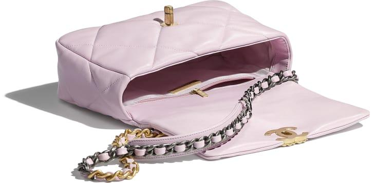 image 3 - CHANEL 19 Handbag - Lambskin, Gold-Tone, Silver-Tone & Ruthenium-Finish Metal - Light Pink