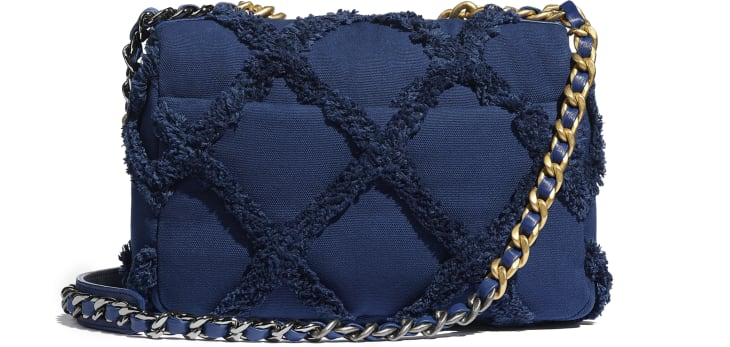 image 2 - CHANEL 19 Handbag - Cotton Canvas, Calfskin, Gold-Tone, Silver-Tone & Ruthenium-Finish Metal - Navy Blue