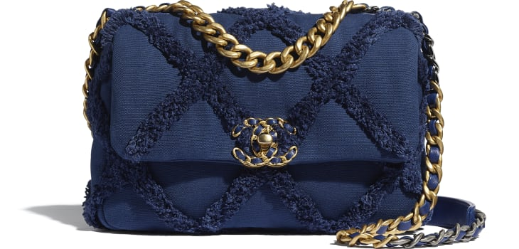 image 1 - CHANEL 19 Handbag - Cotton Canvas, Calfskin, Gold-Tone, Silver-Tone & Ruthenium-Finish Metal - Navy Blue