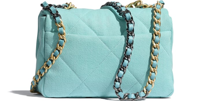 image 2 - CHANEL 19 Handbag - Denim, Calfskin, Gold-Tone, Silver-Tone & Ruthenium-Finish Metal - Neon Blue