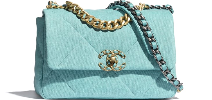 image 1 - CHANEL 19 Handbag - Denim, Calfskin, Gold-Tone, Silver-Tone & Ruthenium-Finish Metal - Neon Blue