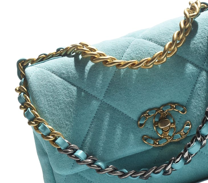 image 4 - CHANEL 19 Handbag - Denim, Calfskin, Gold-Tone, Silver-Tone & Ruthenium-Finish Metal - Neon Blue