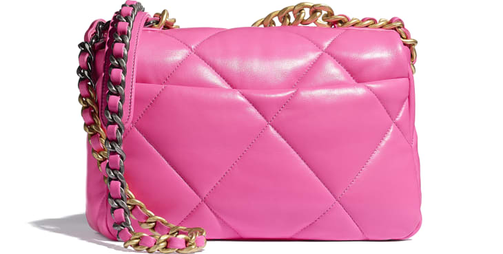 image 2 - CHANEL 19 Handbag - Shiny Lambskin, Gold-Tone, Silver-Tone & Ruthenium-Finish Metal - Neon Pink