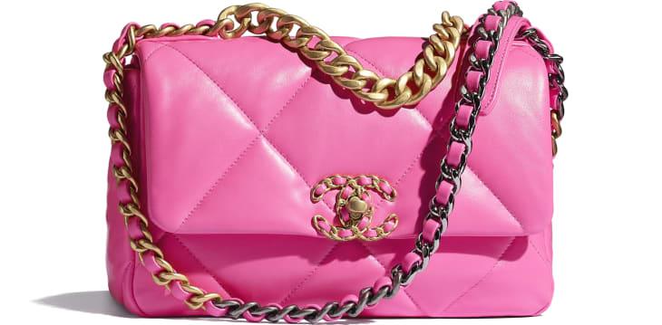 image 1 - CHANEL 19 Handbag - Shiny Lambskin, Gold-Tone, Silver-Tone & Ruthenium-Finish Metal - Neon Pink
