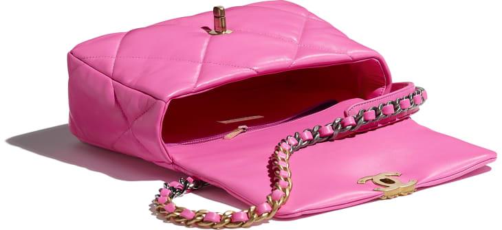 image 3 - CHANEL 19 Handbag - Shiny Lambskin, Gold-Tone, Silver-Tone & Ruthenium-Finish Metal - Neon Pink