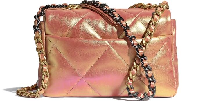 image 2 - CHANEL 19 Handbag - Iridescent Calfskin, Gold-Tone, Silver-Tone & Ruthenium-Finish Metal - Pink