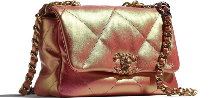 image 4 - CHANEL 19 Handbag - Iridescent Calfskin, Gold-Tone, Silver-Tone & Ruthenium-Finish Metal - Pink