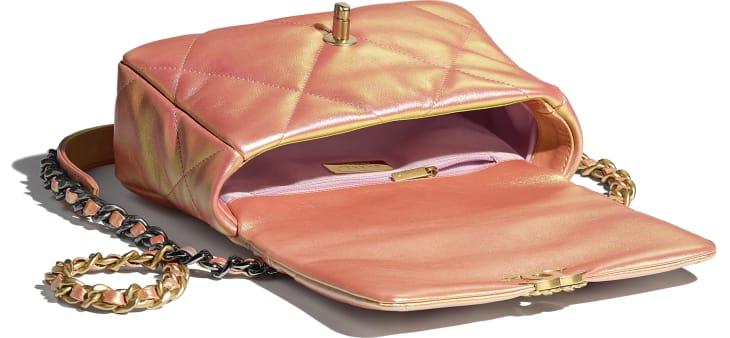 image 3 - CHANEL 19 Handbag - Iridescent Calfskin, Gold-Tone, Silver-Tone & Ruthenium-Finish Metal - Pink