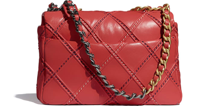 image 2 - CHANEL 19 Handbag - Lambskin, Mixed Fibers, Gold-Tone, Silver-Tone & Ruthenium-Finish Metal - Red