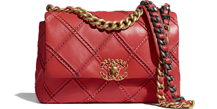 image 1 - CHANEL 19 Handbag - Lambskin, Mixed Fibers, Gold-Tone, Silver-Tone & Ruthenium-Finish Metal - Red